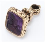 Sale 8926H - Lot 59 - An antique, gold cased fob seal set with an intaglio amethyst of a deer (damaged)