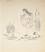Sale 9047 - Lot 581 - Ida Rentoul Outhwaite (1888 - 1960) - Girl by the Pond 25 x 21.5 cm (mount: 39.5 x 33.5 cm)