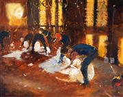 Sale 9038 - Lot 579 - Colin Parker (1941 - ) - Bombala Shearers 40 x 50 cm (frame: 71 x 82 x 4 cm)