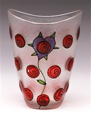 Sale 9078 - Lot 187 - A Post Modern Hearts and Flowers Textured Glass Vase, Initialled and dated to base, H:15cm