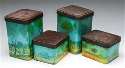 Sale 9156 - Lot 21 - A Set Of Four Willow Cannisters With Pro Hart Designs (Dimensions Of Largest (H;21cm W;16cm D;12cm)