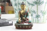 Sale 8324 - Lot 43 - Chinese Bronze Polychrome Seated Guanyin Marked to Base (Height - 21cm)