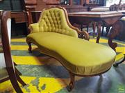 Sale 8617 - Lot 1088 - Victorian Carved Walnut Chaise Longue, the raised end buttoned & upholstered in green velvet, with cabriole legs