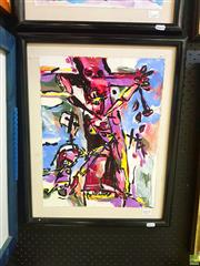 Sale 8631 - Lot 2053 - George Barlow - Crucifixion, 1987 mixed media on canvas on board, 43 x 33cm, signed lower centre