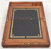 Sale 8644A - Lot 92 - A cedar lined Victorian writing slope with internal pen tray compartments, H 35 x W 24 x D 15cm.