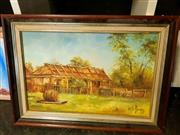 Sale 8671 - Lot 2068 - Colonial Hut - Oil on Board -