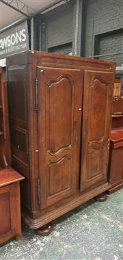 Sale 8848 - Lot 1056 - Late 18th Century French Oak Armoire, with shaped panel doors & later bun feet