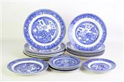 Sale 8902 - Lot 21 - A Collection of Blue and White Plates and Bowls inc Old Willow Pattern