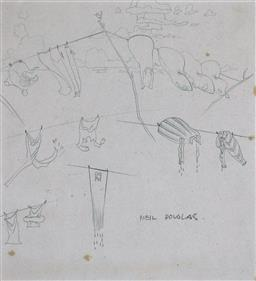 Sale 9143A - Lot 5048 - NEIL DOUGLAS (1911 - 2003) - Sketches 20 x 20 cm (frame: 39 x 42 x 2 cm)