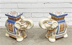 Sale 9108 - Lot 1023 - Fine Pair of Ceramic Elephant Stools with hand-painted glaze (h39 x w50 x d22cm) -
