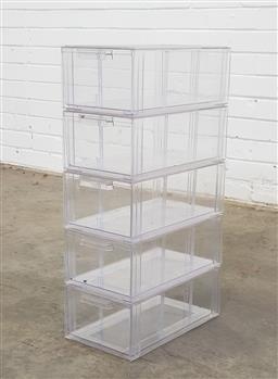 Sale 9146 - Lot 1044 - Perspex shoe storage boxes (h:68 x w:36 x d:26cm)