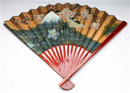 Sale 9153 - Lot 95 - A large Chinese fan depicting birds (W:100cm)