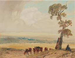 Sale 9161A - Lot 5065 - HENRY MARTIN (1891 - 1944) - Roaming Cattle, Shoalhaven River Valley 34.5 x 44 cm (frame: 48 x 58 x 3 cm)