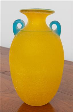 Sale 9191H - Lot 97 - Art Glass twin handled vase, H 26 cm, signed to base