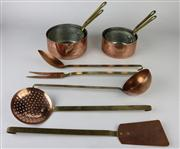 Sale 8436 - Lot 83 - Copper Serving Ladles & a Set of 4 Copper Pots