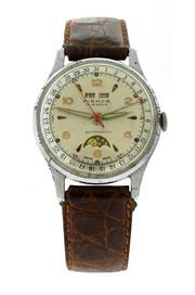Sale 8618A - Lot 39 - A vintage mens 1950s Pierce triple date moon phase wristwatch;
