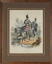 Sale 8870 - Lot 2056 - Francois Hippolyte Lalaisse (1812 - 1884) - Type Militaires,Chasseur 38 x 29.5cm