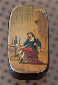 Sale 8963H - Lot 30 - A Victorian patch pot with a printed and hand coloured scene of a seated woman with a letter, Length 7.5cm