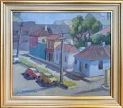 Sale 8964 - Lot 2005 - Christine Crimmins Scott Street: Squatters Cottage - CSR in background1990, oil on canvas on board, 32 x 36.5cm (frame), signed l...