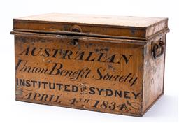 Sale 9130E - Lot 2 - A twin handled metal documents box marked to front Australian Union Benefit Society instituted in Sydney April 4th 1834, Height 26...