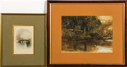 Sale 9156 - Lot 84 - A framed sketch of a river scene (46cm x 39cm) together with a framed hand coloured etching The Four Courts (39cm x 26cm)