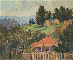 Sale 9212A - Lot 5051 - LIONEL HORNABROOKE JAGO(1882 - 1953) Rural Cottages in Landscape oil on board 44 x 54 cm (frame: 59 x 69 x 4 cm) signed lower right