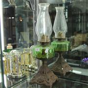 Sale 8379 - Lot 47 - Green Glass Kerosene Lamp