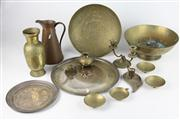 Sale 8445 - Lot 41 - Brass Oriental Bowl with Other Metal Wares incl Silver Plate