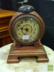 Sale 8545 - Lot 1002 - A Timber Cased Clock with Bell Mounted to Round Face