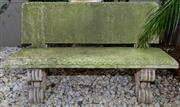 Sale 8568A - Lot 11 - A composite stone garden bench with egg and dart boarder on scroll feet, W 127cm