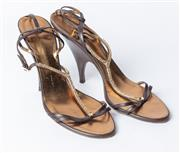 Sale 8891F - Lot 6 - A pair of Guiseppe Zanotti Design brown leather and gold embroidery slingback stilettos, size 41