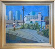 Sale 8964 - Lot 2007 - Christine Crimmins Fish and Chips: Railway Line from Pier 131990, oil on canvas on board, 32 x 36.5cm (frame), signed lower right