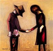 Sale 8984A - Lot 5017 - Charles Blackman (1928 - 2018) - The Meeting 119 x 119 cm (frame: 122 x 122 x 5 cm)