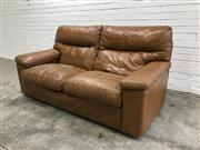 Sale 9059 - Lot 1079 - Moran Leather 2 Seater Lounge in Weathered Brown (h:90 x w:178 x d:53cm)
