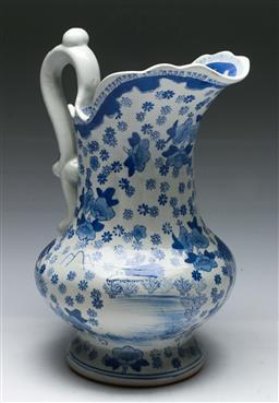 Sale 9153 - Lot 21 - A blue and white ceramic wash jug (H: 30cm)