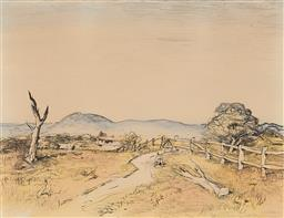 Sale 9212A - Lot 5043 - LLOYD REES (1895 - 1988) OConnell Landscape, 1980 hand-coloured lithograph, ed. 71/80 50 x 65 cm (frame: 88 x 104 x 3 cm) signed an...