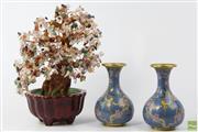 Sale 8603 - Lot 34 - A Pair Of Cloisonne Vases And a Semi-Precious Stone Bonsai