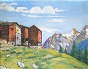 Sale 8838A - Lot 5122 - Artist Unknown (Russian School) - Mountainside Scene with Buildings 38 x 49.5cm