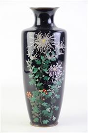 Sale 8877 - Lot 36 - A Japanese Cloisonne Vase with Black Field on a Floral Motif (H 31cm)