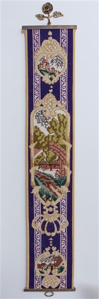Sale 8963H - Lot 100 - A brass and tapestry bell pull with cottage scenes, Height 101cm