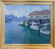 Sale 8964 - Lot 2006 - Christine Crimmins Pier 21 Harbour 1993, oil on canvas on board, 36 x 40.5cm (frame), signed lower right