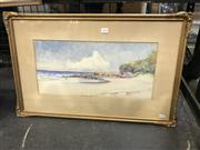 Sale 8990 - Lot 2030 - A E Macdonald - Beach Scene, c1900 22 x 45 cm (frame: 42 x 65 x 2 cm)