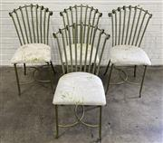 Sale 9063 - Lot 1037 - Set of 4 Metal Chairs by Zenou with Upholstered Seats (h:90 x w:49 x d:14cm)