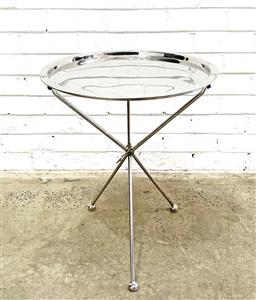 Sale 9108 - Lot 1031 - Folding stainless steel Side Table with removeable tray (h62 x d50cm) -