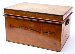 Sale 9130E - Lot 20 - A twin handled metal document box with a timber finish, mark to front Niagara Gold Mining Company (limited) Height 32.5cm x Width...