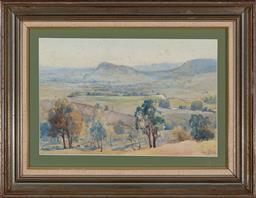 Sale 9161A - Lot 5016 - JOHN SALVANA (1873 - 1956) - Grazing Cattle, Kangaroo Valley, 1930 27.5 x 46 cm (frame: 46 x 63 x 3 cm)