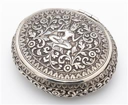 Sale 9245R - Lot 39 - A vintage 900 grade silver oval box, profusely decorated with a deeply embossed figure amidst scrolling folliates, C: 1950s  10cm x...