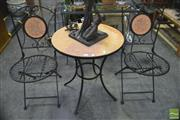 Sale 8289 - Lot 1047 - Three Piece Outdoor Suite incl. Mosaic Top Table and Pair of Matching Chairs