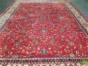 Sale 8462 - Lot 1022 - Large Persian Kashan Wool Carpet, with floral arabesques on a red ground & cream border (400 x 300cm)