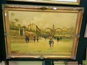 Sale 8582 - Lot 2029 - Artist Unknown Italian Scene Oil on Canvas Board SLL